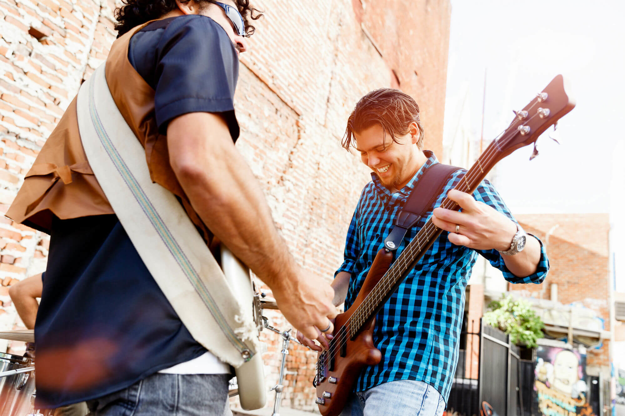 Musicians playing guitar on the street